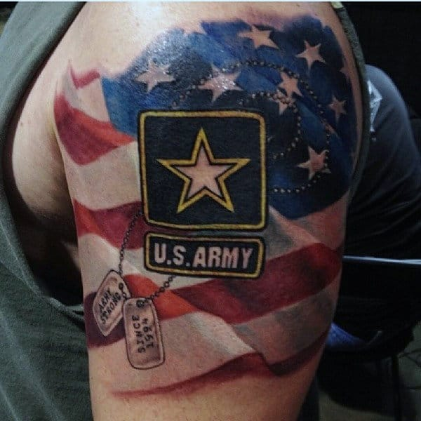 Mens American Flag Us Army Logo Half Sleeve Tattoo