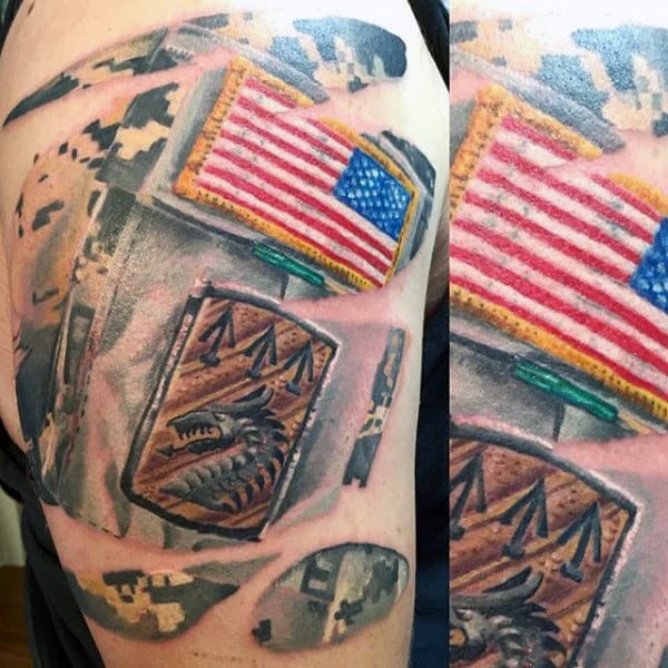 Mens American Flag Us Army Patch Upper Arm Tattoo With Digital Camo Background Pattern