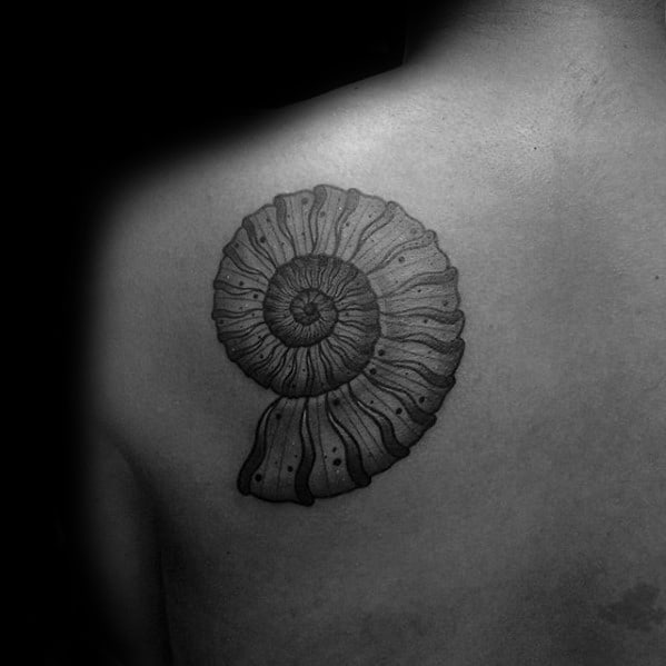 Mens Ammonite Tattoo Design Ideas On Shoulder Blade Of Back