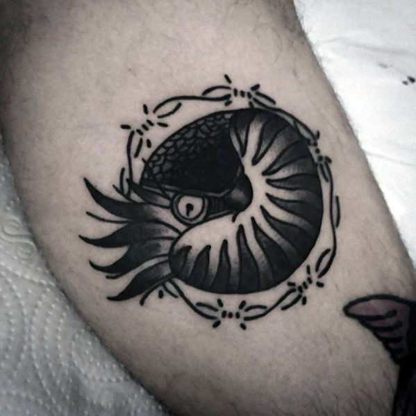 Mens Ammonite With Barb Wire Traditional Leg Tattoo Ideas