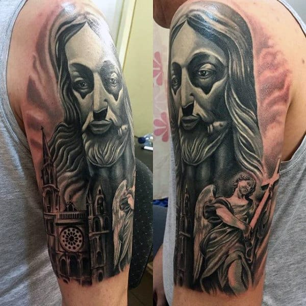 Mens Angel Bearing Cross With Jesus Half Sleeve Tattoo