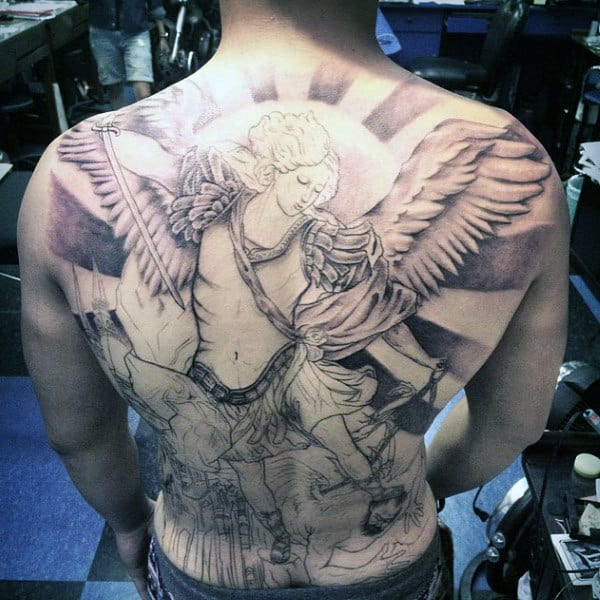 Men's Angel Shoulder Tattoos
