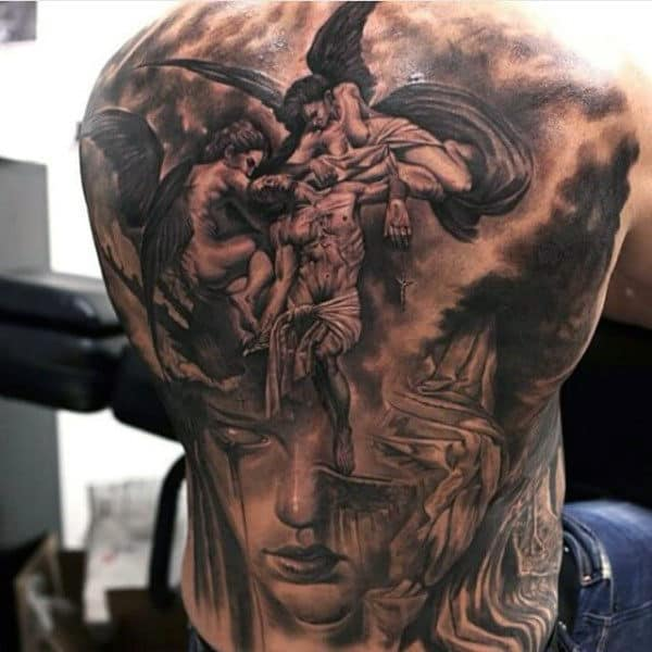 Men's Angel Sleeve Tattoo Ideas