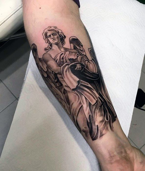 Mens Angel Statue Inner Forearm Tattoo Design Inspiration