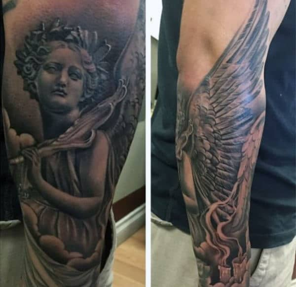Men's Angel Wings Back Tattoo