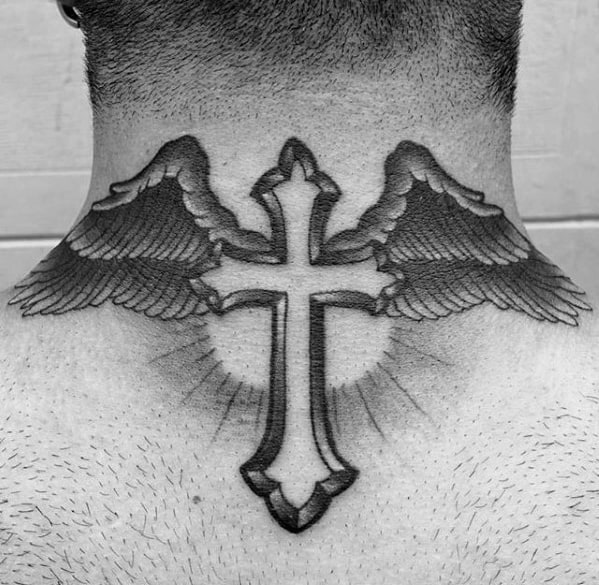 Mens Angel Wings With Cross Traditional Back Of Neck Tattoo