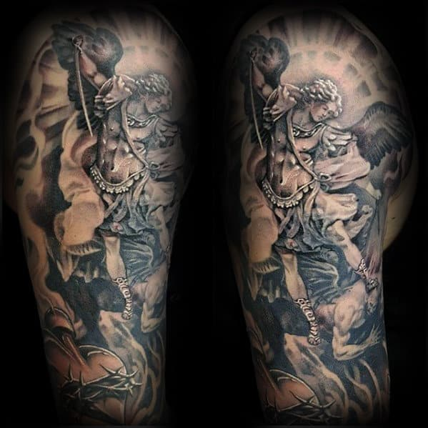 Mens Angel With Devil Catholic Half Sleeve Tattoo Designs