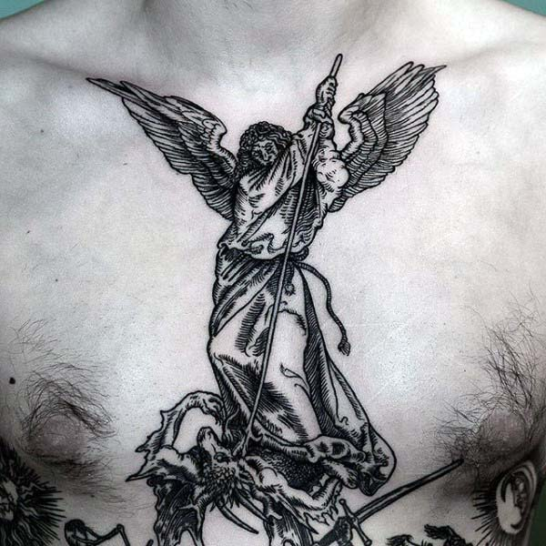 Mens Angel Woodcut Chest Tattoos