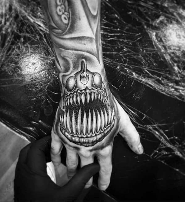 Mens Angler Fish Tattoo Design Inspiration 3d Hand