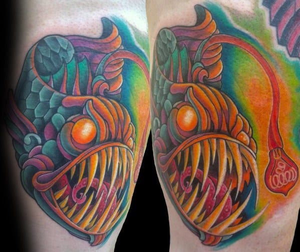 Mens Angler Fish Tattoo Watercolor Design