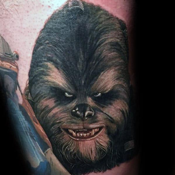 Mens Angry Chewbacca Arm Tattoos