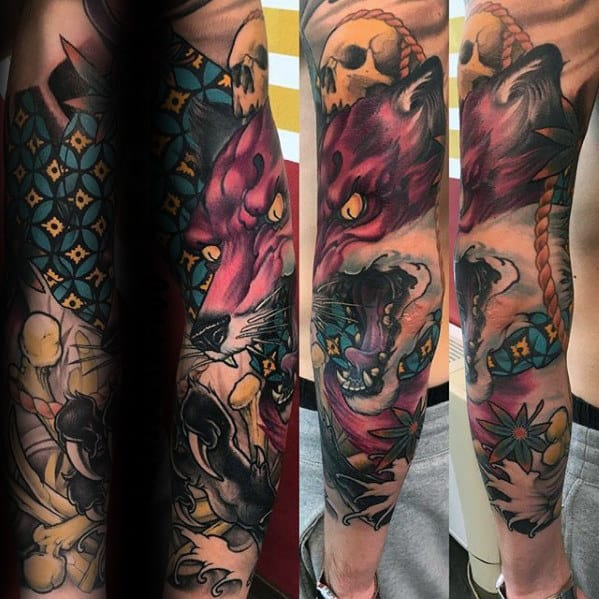 Mens Angry Kitsune Fox Full Leg Sleeve Tattoo Designs