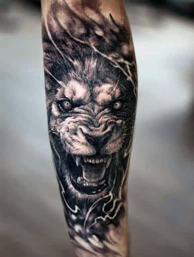 Mens Angry Lion Forearm Sleeve Tattoo Design Ideas
