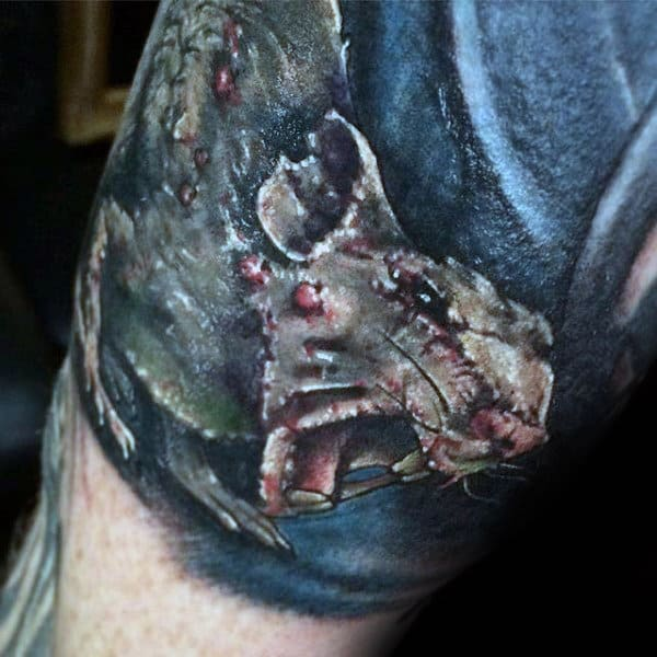 Mens Angry Rat Arm Tattoo Designs