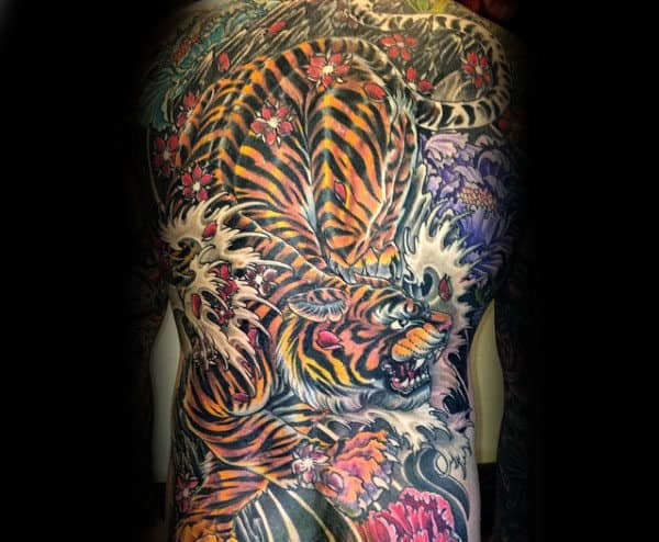 Mens Angry Tiger Japanese Full Back Tattoo Design Ideas