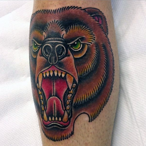 Mens Angry Traditional Bear Leg Tattoo Design Ideas