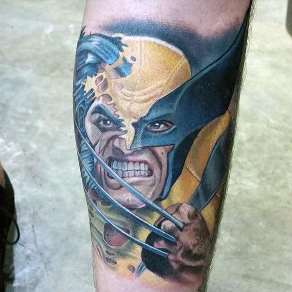 Mens Angry Wolverine Inenr Forearm Tattoos