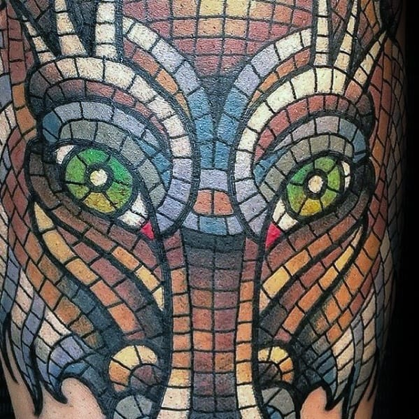 Mens Animal Arm Mosaic Tattoo Ideas