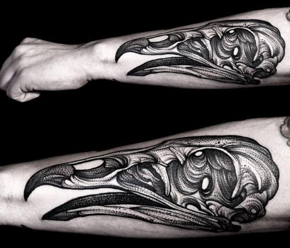 Mens Animal Vulture Skull Tattoo On Forearm