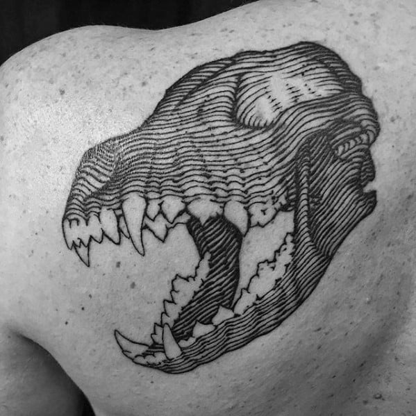 Mens Animal Wolf Skull Shoulder Blade Tattoo