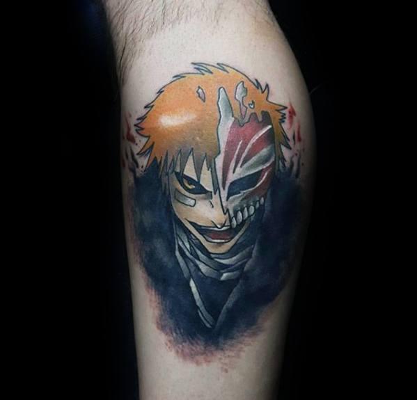 Mens Anime Tattoo Design Ideas On Leg Calf