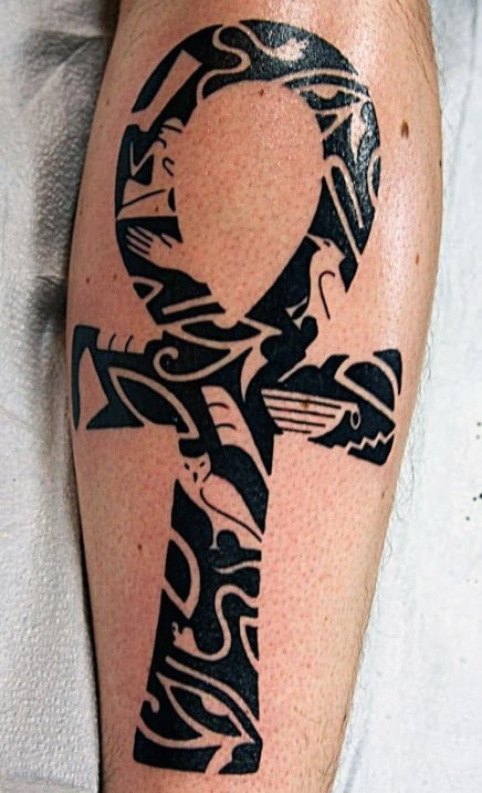 Mens Ankh Tribal Tattoo Design On Leg