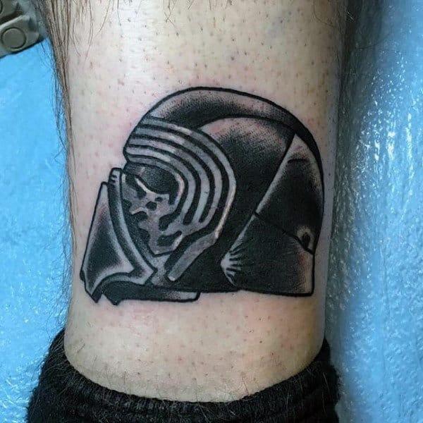 Mens Ankle Darth Vader Helmet Star War Tattoo