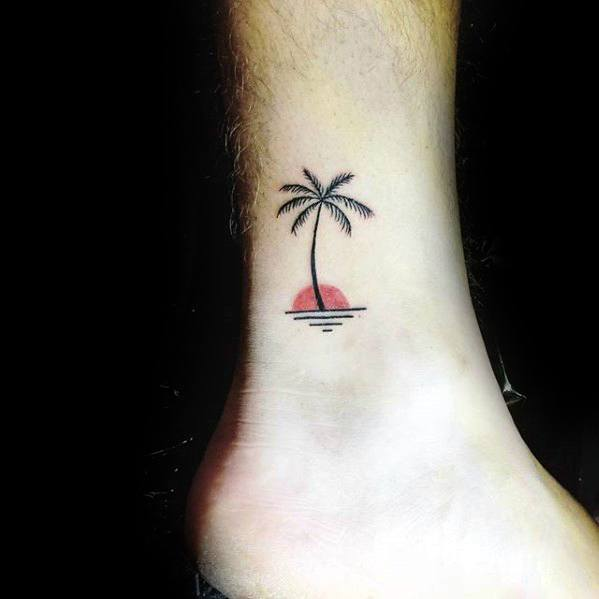 Mens Ankle Tattoo Palm Tree With Red Sun And Ocean Design Inspiration
