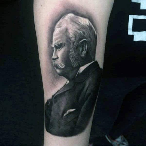 Mens Ankles Black And Grey Suited Old Man Tattoo