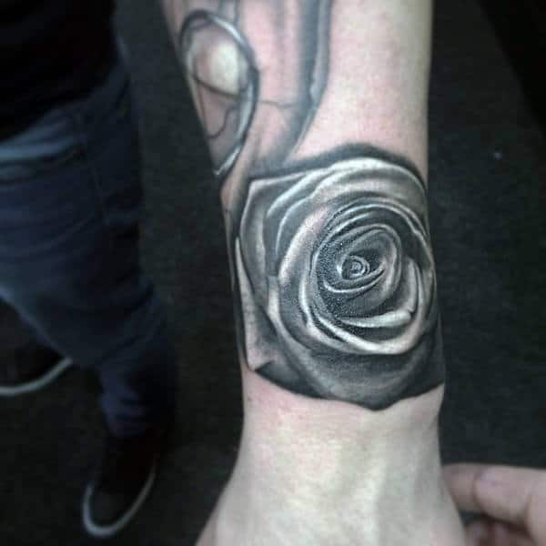 Mens Ankles Black And White Rose Tattoo