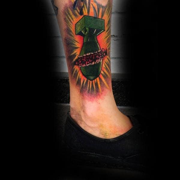 Mens Ankles Bomb Burst Tattoo