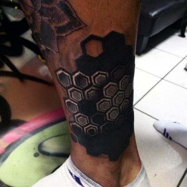 Mens Ankles Dark Black Honeycomb Tattoo