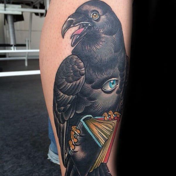 Mens Ankles Dark Eagle Holding Books Tattoo