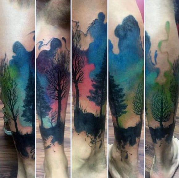 Mens Ankles Gorgeous Watercolor Tree Tattoo
