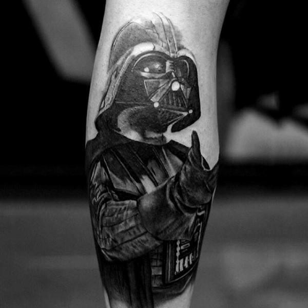 Mens Ankles Gray Darth Vader Tattoo