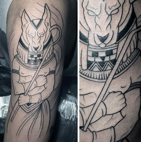 Mens Anubis Black Ink Outline Arm Tattoos