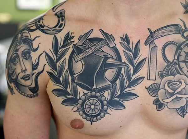 Mens Anvil With Tack Hammer Tattoo For Men Old School Design Ideas