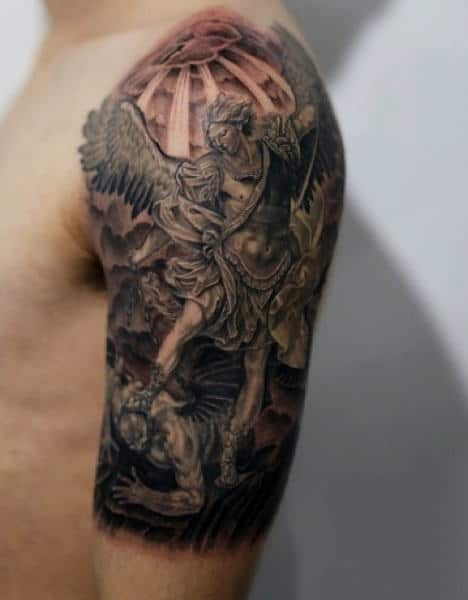 Men's Archangel Micheal Tattoo On Arm And Shoulder