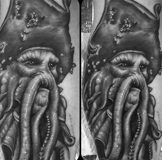 Mens Arm 3d Davy Jones Tattoo Ideas