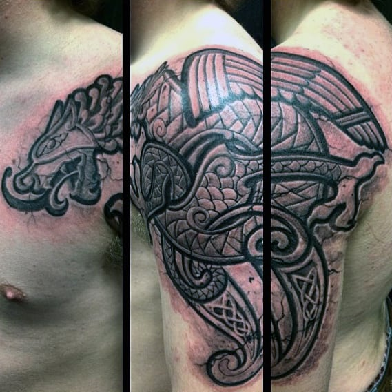 Mens Arm And Shoulder Stone Celtic Dragon Tattoo Designs