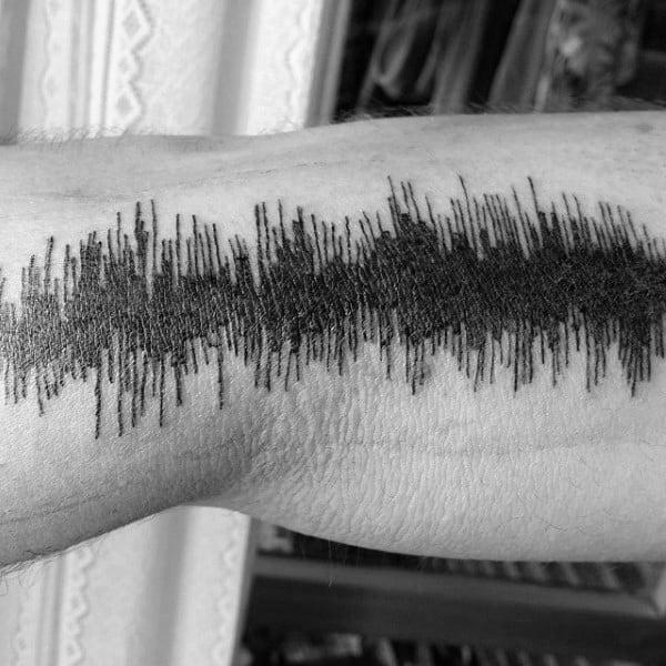 Mens Arm Black Ink Lines Soundwave Tattoo Ideas