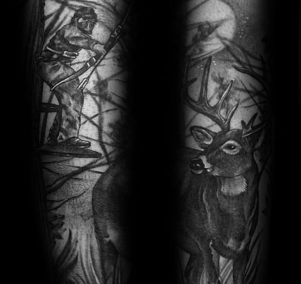 Mens Arm Bowhunting Deer Sleeve Tattoo Design Ideas