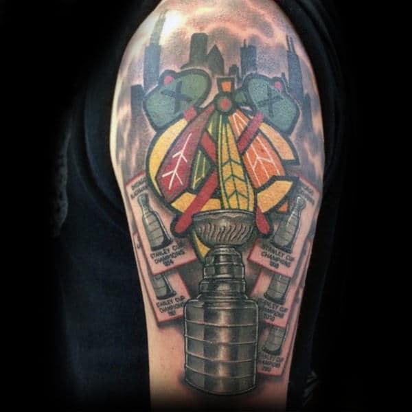 Mens Arm Chicago Blackhawks Trophies Tattoos