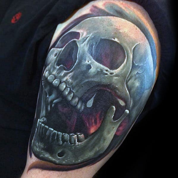 Mens Arm Cool 3d Skull Tattoos