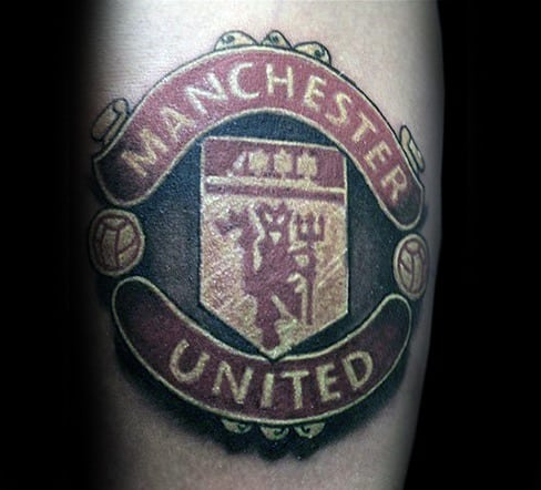 Mens Arm Cool Manchester United Tattoo Ideas