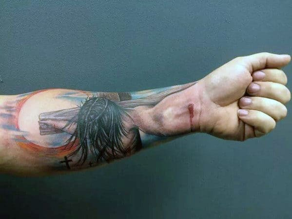Men's Arm Cross Tattoo