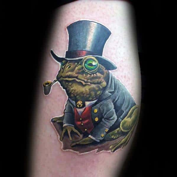 Mens Arm Fancy Toad With Top Hat Tattoo Ideas