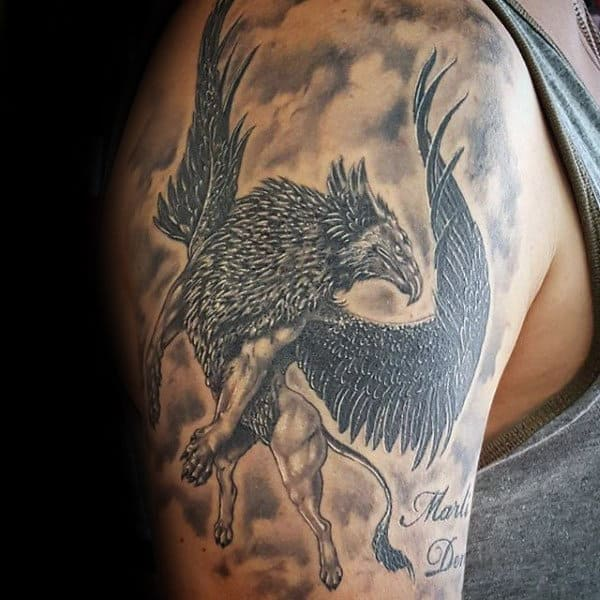 Mens Arm Flying Griffin Tattoo Ideas