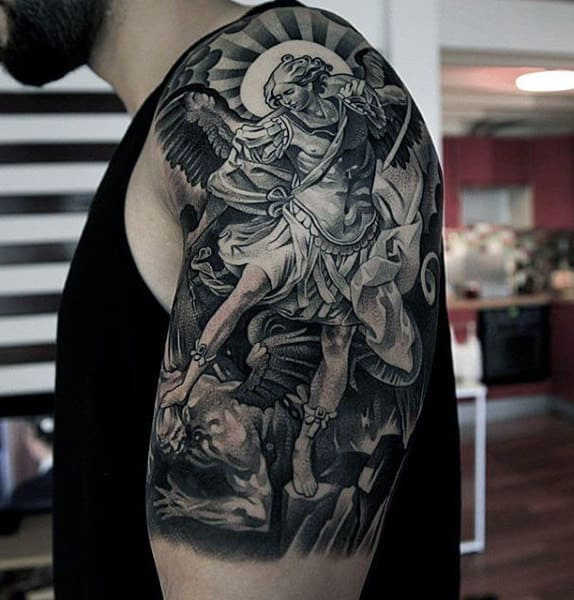 100 guardian angel tattoos for men spiritual ink designs for Battle between heaven and hell tattoo