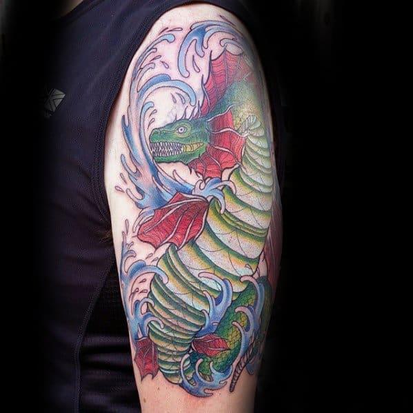 Mens Arm Loch Ness Monster Tattoo Ideas